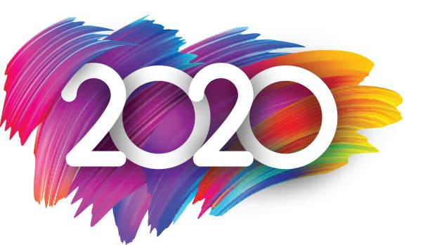 2020 Neujahr festlichehintergrund Hintergrund mit bunten Pinselstrichen. – Vektorgrafik
