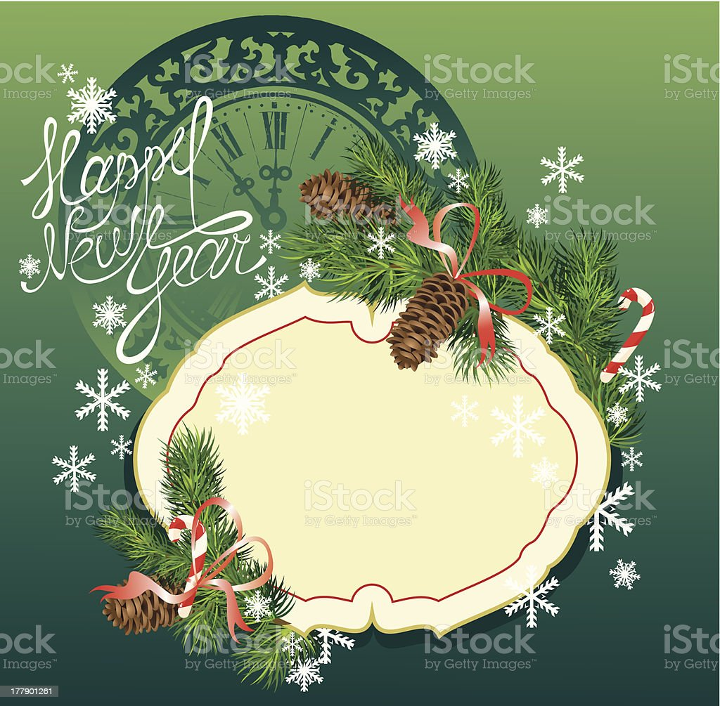 New Year  fir tree branches and pine cones - frame royalty-free stock vector art