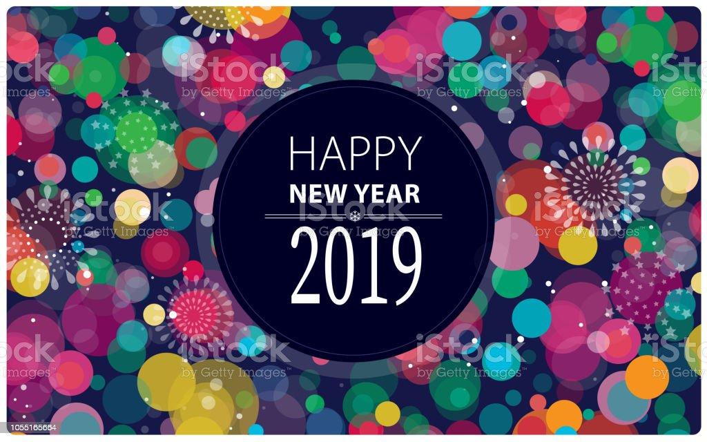 Silvester Feuerwerk 2019 Horizontal – Vektorgrafik