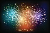 New year fireworks background. Colorful celebration vector illustration with flashes and sparklers elements.