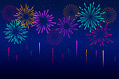 New year fireworks decoration isolated on blue background. Vector illustration