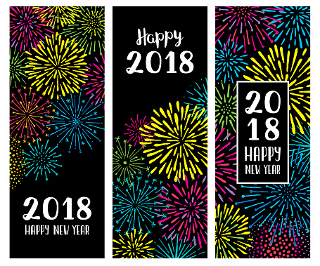 New year fireworks display banners