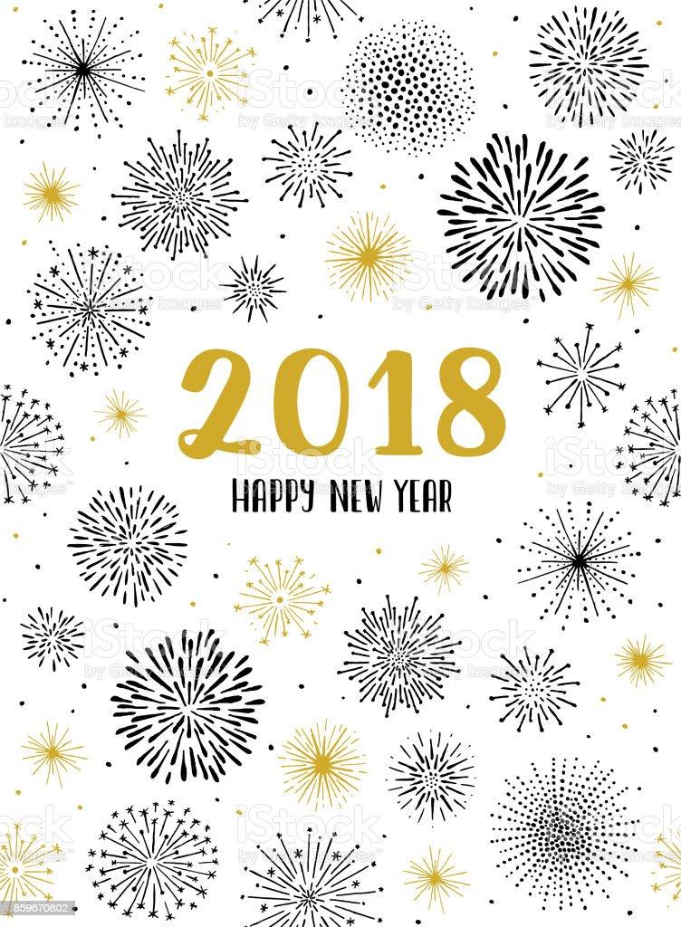 New year fireworks display seamless pattern vector art illustration