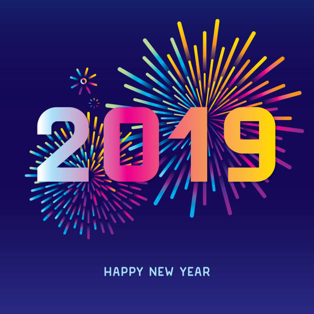 New year fireworks display Editable vector illustration on layers.  This is an AI EPS 10 file format, with transparency effects and gradients. pyrotechnic effects stock illustrations