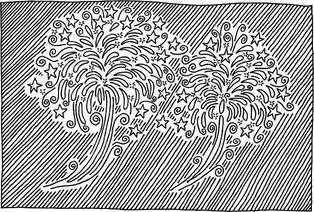 New Year Fireworks Doodle Drawing Hand-drawn vector drawing of a New Year Fireworks Doodle. Black-and-White sketch on a transparent background (.eps-file). Included files are EPS (v10) and Hi-Res JPG. celebration stock illustrations