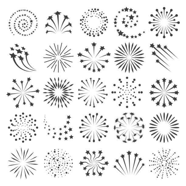 New year fireworks icons New year fireworks icons. Firework icon set for happy christmas celebrate party and birthday or anniversary events collection, vector illustration fireworks stock illustrations