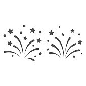 New Year fireworks line and solid icon, New Year concept, Festive salute sign on white background, Celebratory fireworks icon in outline style for mobile and web design. Vector graphics