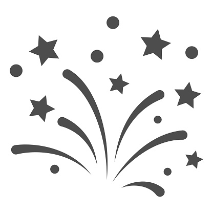 New Year fireworks line icon, New Year concept, Festive salute sign on white background, Celebratory fireworks icon in outline style for mobile and web design. Vector graphics.