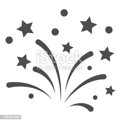 New Year fireworks line icon, New Year concept, Festive salute sign on white background, Celebratory fireworks icon in outline style for mobile and web design. Vector graphics