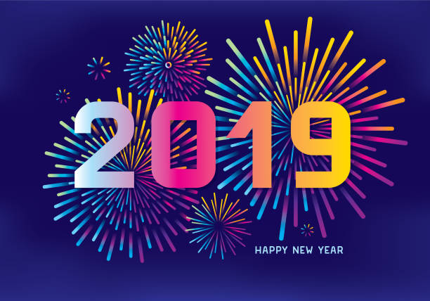New year fireworks Editable vector illustration on layers.  This is an AI EPS 10 file format, with transparency effects, gradients and one gradient mesh. pyrotechnic effects stock illustrations