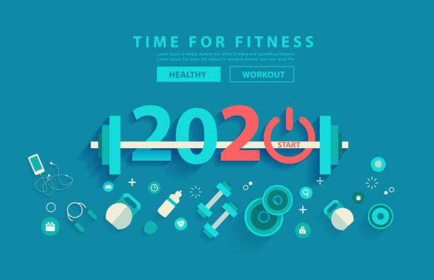 bildbanksillustrationer, clip art samt tecknat material och ikoner med 2020 nya året fitness koncept träning typografi alfabetet design med utrustning. vektor illustration platt modern layoutmall - calendar workout