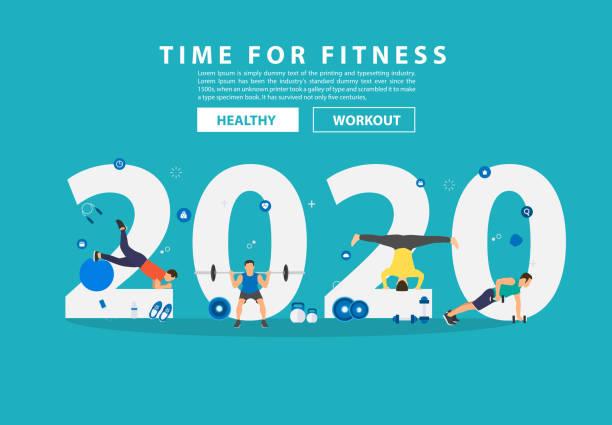 bildbanksillustrationer, clip art samt tecknat material och ikoner med 2020 nytt år fitness idéer koncept man workout gym utrustning med platt stora bokstäver. vektor illustration modern layout mall design - calendar workout