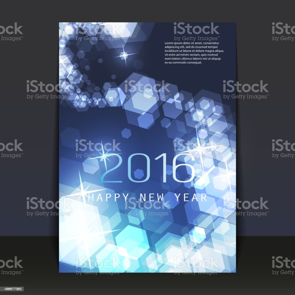 New Year Flyer, Card or Cover Design Template - 2016 vector art illustration
