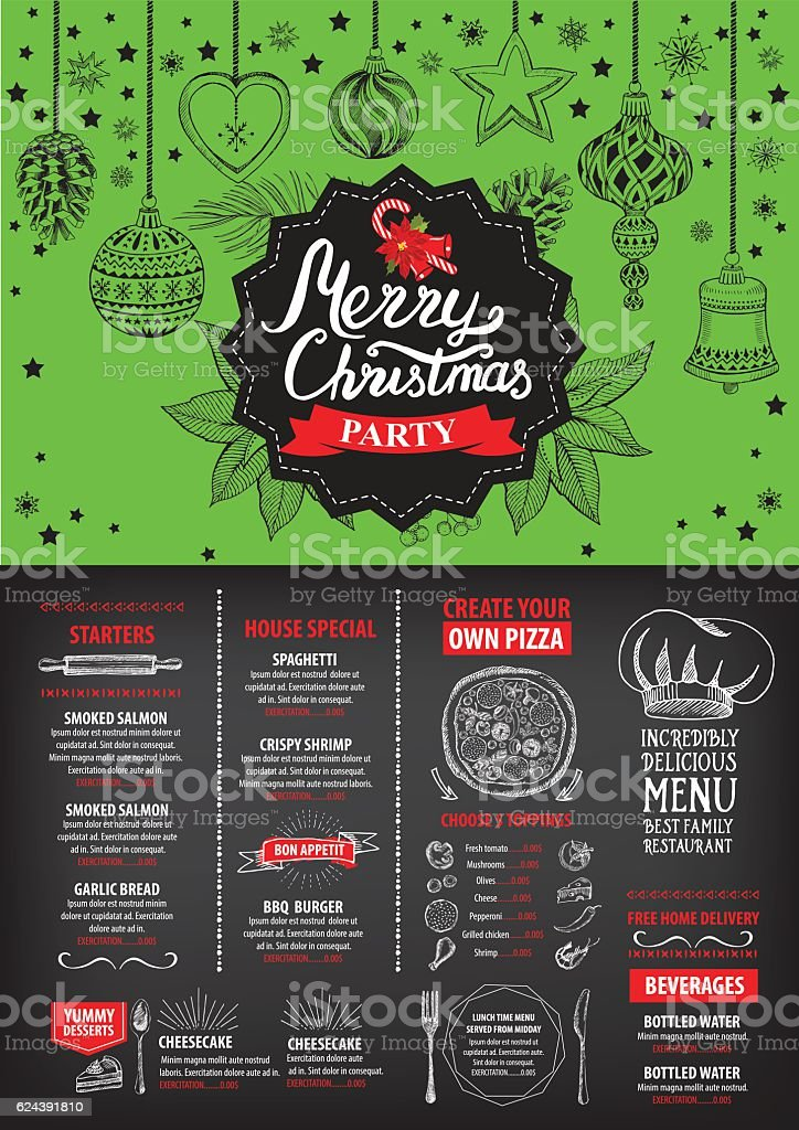 New year food menu restaurant christmas party invitation stock christmas party invitation royalty free new year food stopboris Choice Image