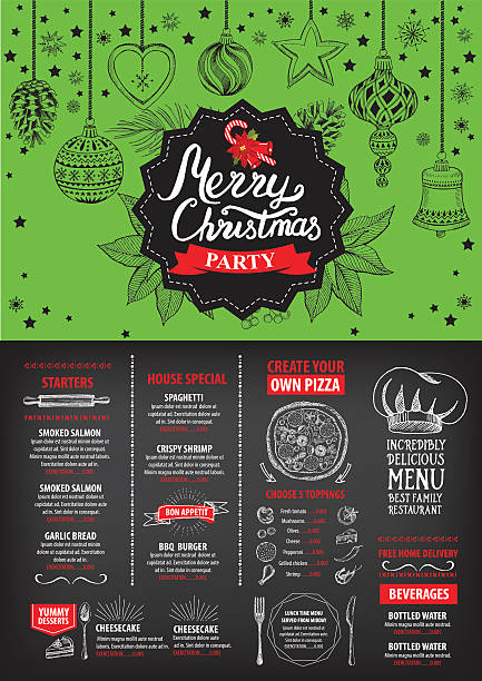 illustrazioni stock, clip art, cartoni animati e icone di tendenza di new year food menu restaurant. christmas party invitation. - pranzo natale