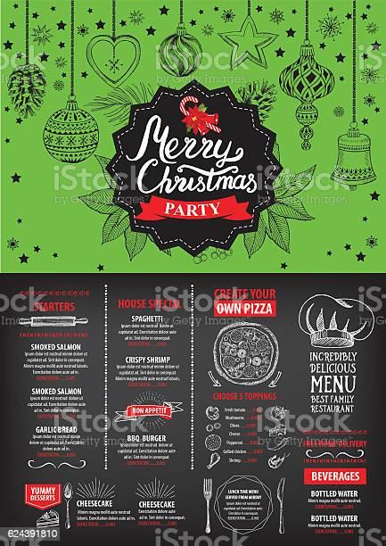 New Year Food Menu Restaurant Christmas Party Invitation - Immagini vettoriali stock e altre immagini di Bibita