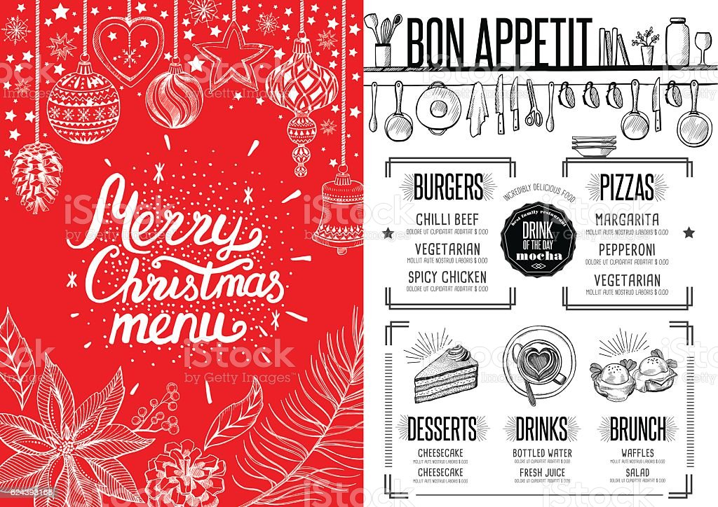 New Year Food Menu Restaurant Christmas Party Invitation stock ...