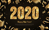Happy New Year Banner with Gold 2019 Numbers on Black Background with Flying Confetti and Streamers. Vector illustration