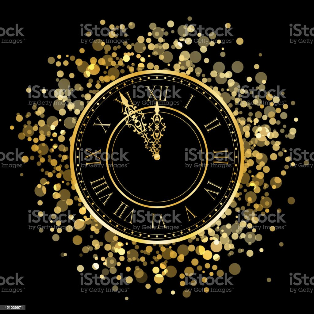 new year gold shiny clock vector art illustration