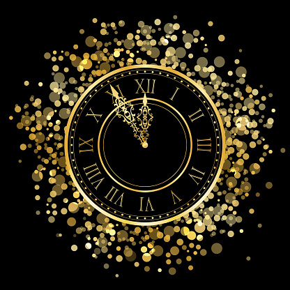 New Year Gold Shiny Clock Stock Illustration - Download Image Now