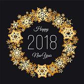 New Year gold snowflake wreath - Illustration