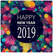 Vibrant New Year 2019 greeting.
