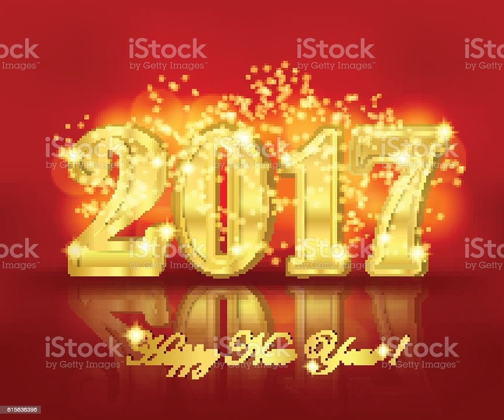 New year greeting banner on the red background stock vector art new year greeting banner on the red background royalty free new year greeting banner on kristyandbryce Images