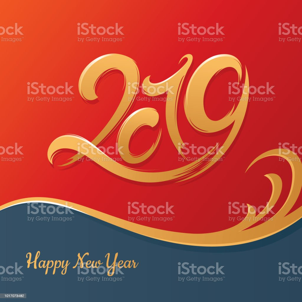 New Year Greeting Card 2019 Year Stock Vector Art More Images Of