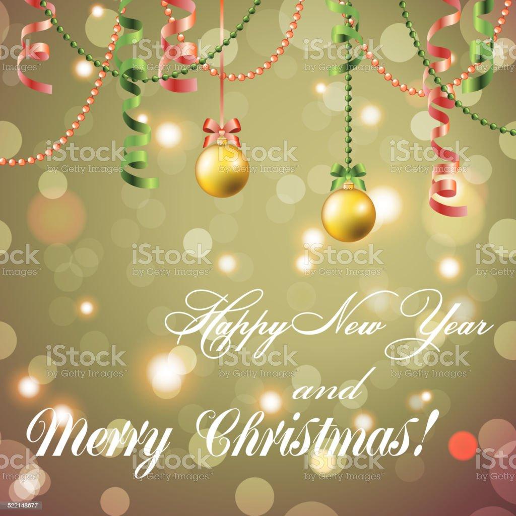 Neujahr Grußkarte Christmas Ball Mit Schleife Und Band Stock Vektor ...