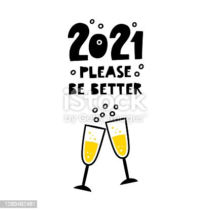istock New year greeting card design. 2021 please be better. 1283462481