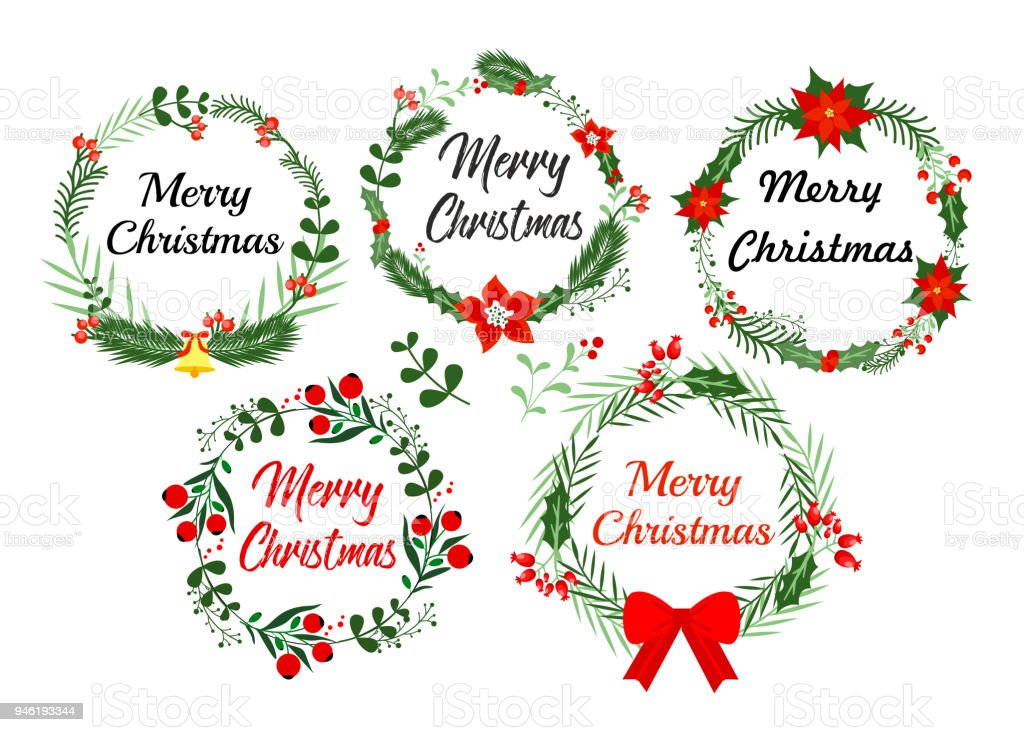 New Year Greeting Card Elements Christmas Wreath Set With Winter ...