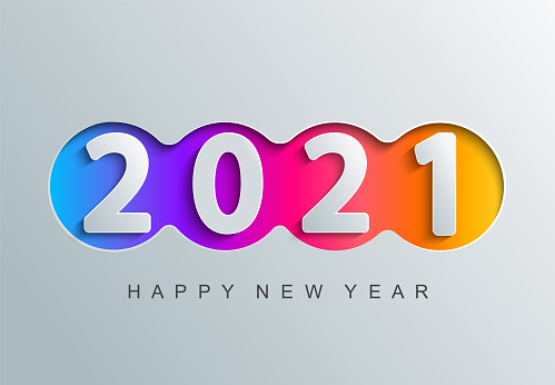 2021 new year greeting card in paper cut style.