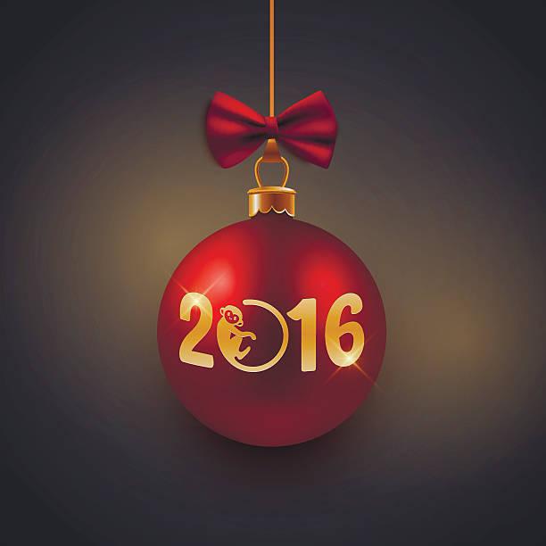 新年のグリーティングカード、はがき、レッドのビーズ飾り、猿 2016 - 野生動物のカレンダー点のイラスト素材/クリップアート素材/マンガ素材/アイコン素材