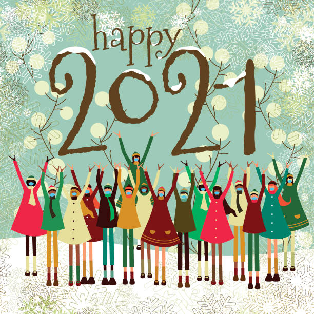 New year greeting card vector art illustration