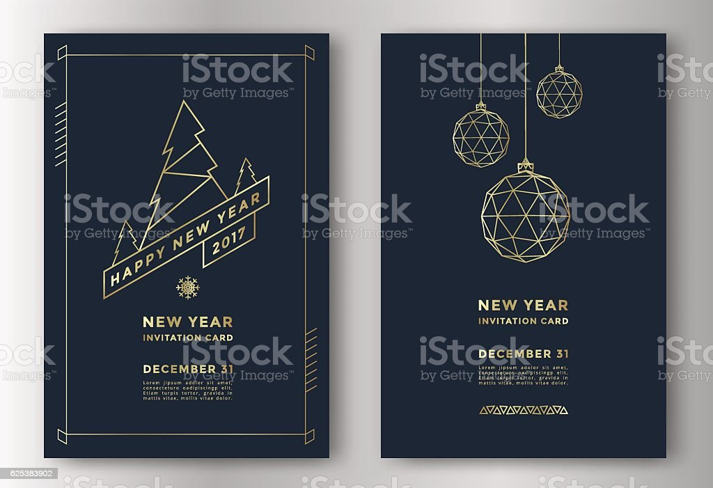 New Year greeting card vektör sanat illüstrasyonu