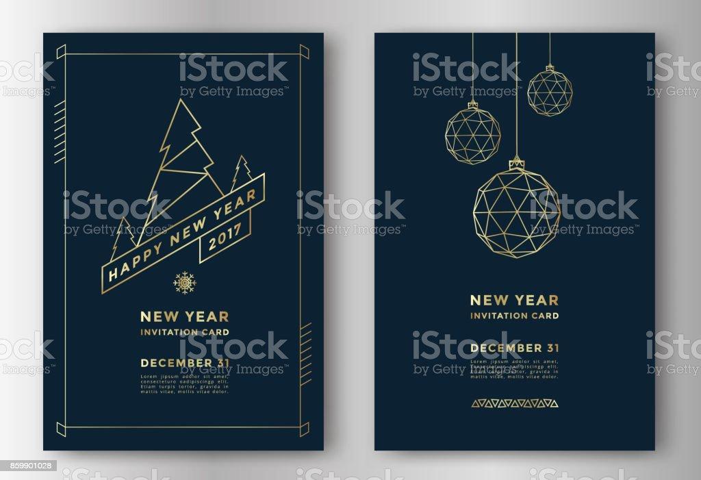 Tarjeta de felicitación del año nuevo - ilustración de arte vectorial
