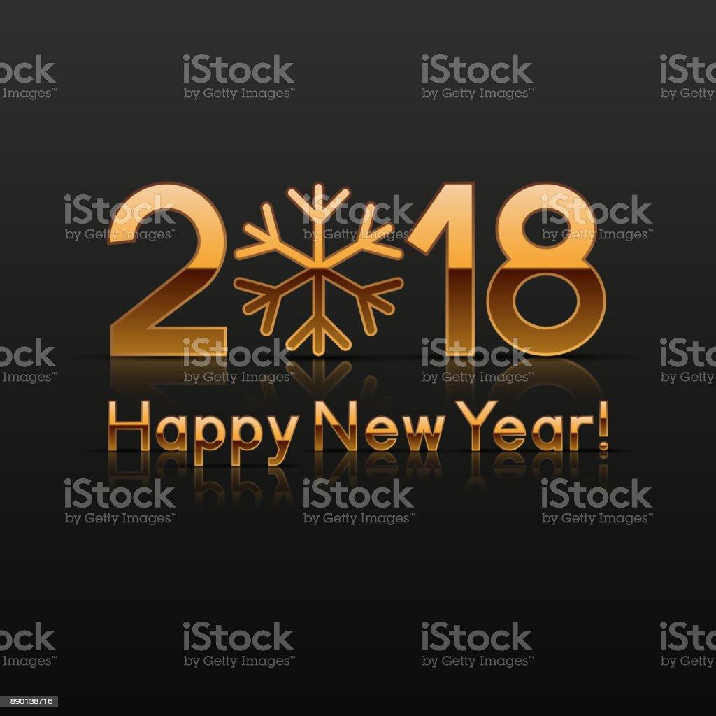 2018 New Year greeting card vector art illustration