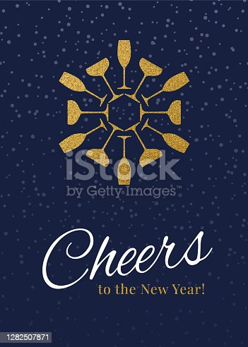 istock New Year Greeting card with champagne and cheers. 1282507871