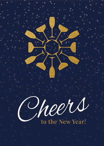 New Year Greeting card with champagne and cheers.