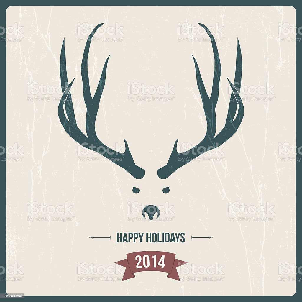 New year greeting card with deer silhouette royalty-free stock vector art