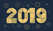 2019 New year greeting card with fireworks. Minimalist style, geometric thin outline. Vector, eps.10