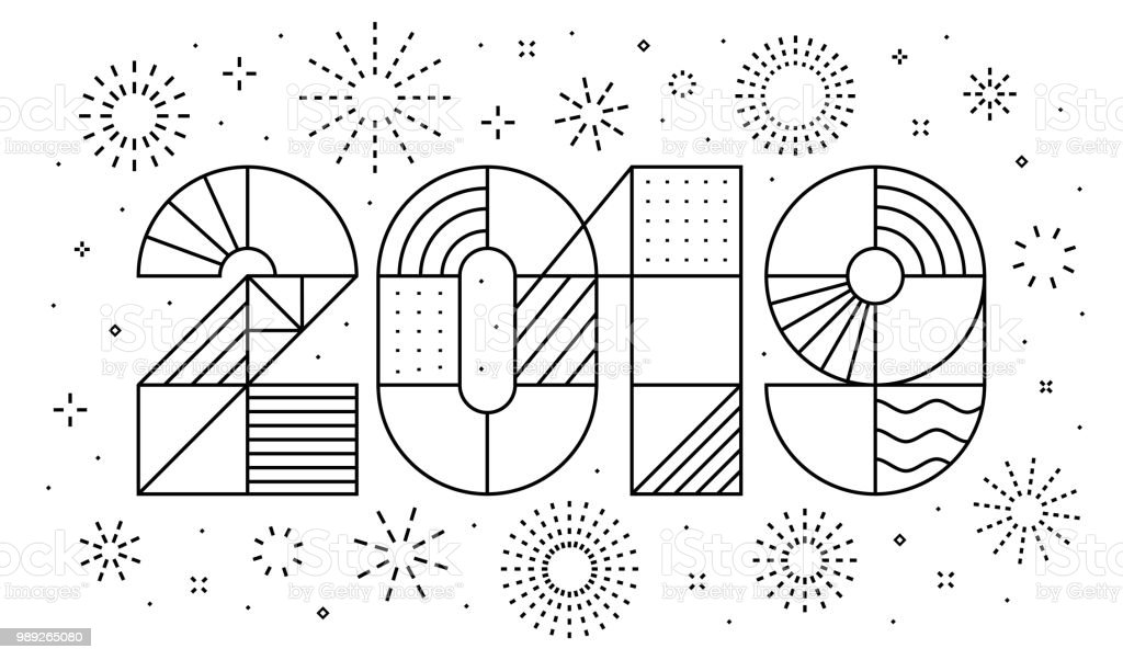 2019 New year greeting card with fireworks 2019 New year greeting card with fireworks. Minimalist style, geometric thin outline. Vector, eps.10 2019 stock vector