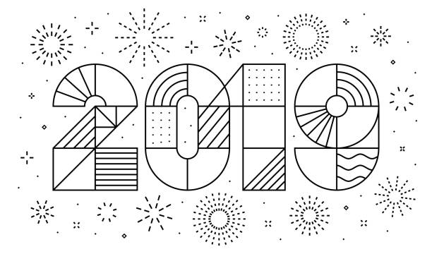 2019 new year greeting card with fireworks - fireworks stock illustrations