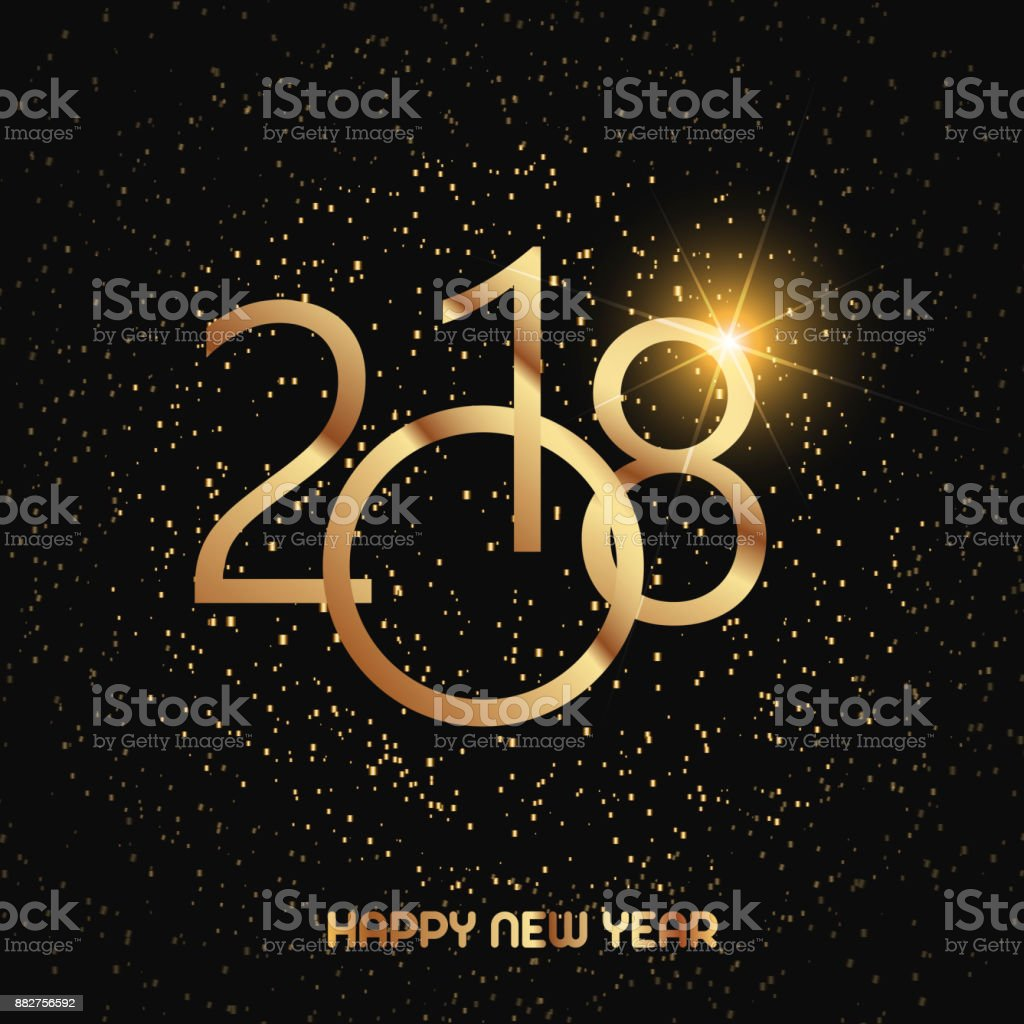 new year greeting card with gold glitter particles on black background vector illustration royalty