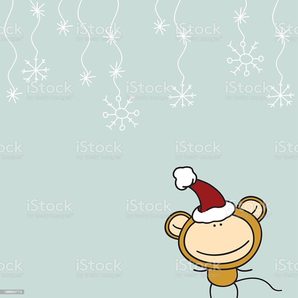 New Year greeting card with the Monkey in Santa's hat vector art illustration