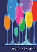 Champagne celebration glasses using overlays and transparencies, best in RGB. Eps 10 file CS5 version in the zip