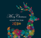 Vibrant greeting for Christmas and New Year 2018 with reindeer and copy space text.