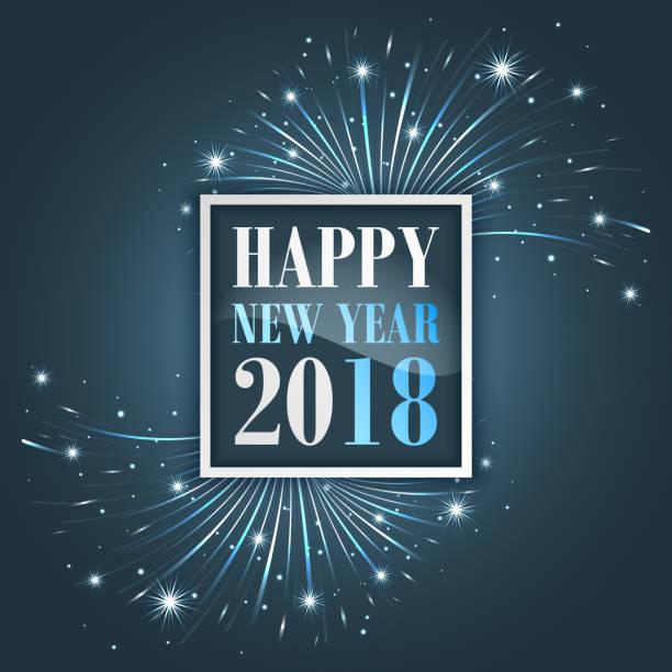 新年花火、輝き、星やキラキラと 2018 のご挨拶。 - 大晦日点のイラスト素材/クリップアート素材/マンガ素材/アイコン素材