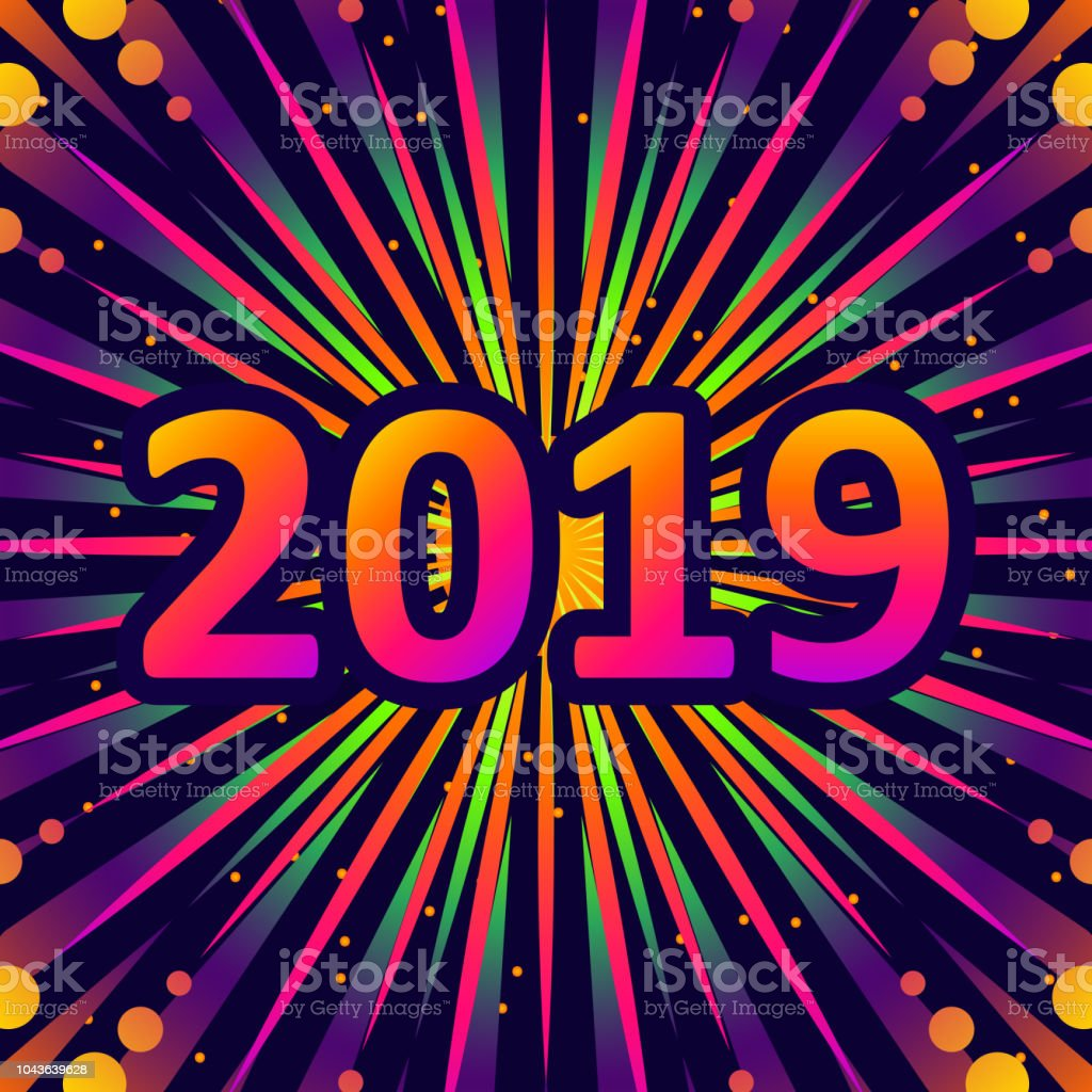 2019 New Year Greetings With Fireworks Vector Illustration Stock