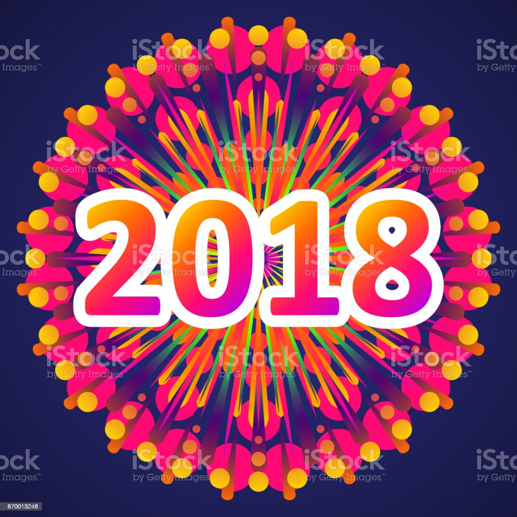 2018 New Year Greetings With Fireworks Vector Illustration Stock